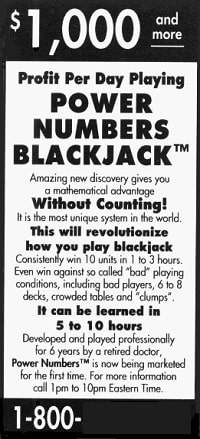 Power Numbers Blackjack Advertisement