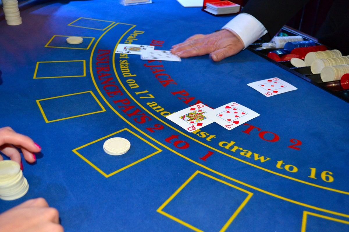 Blackjack side bets, such as insurance, are often shown on the table