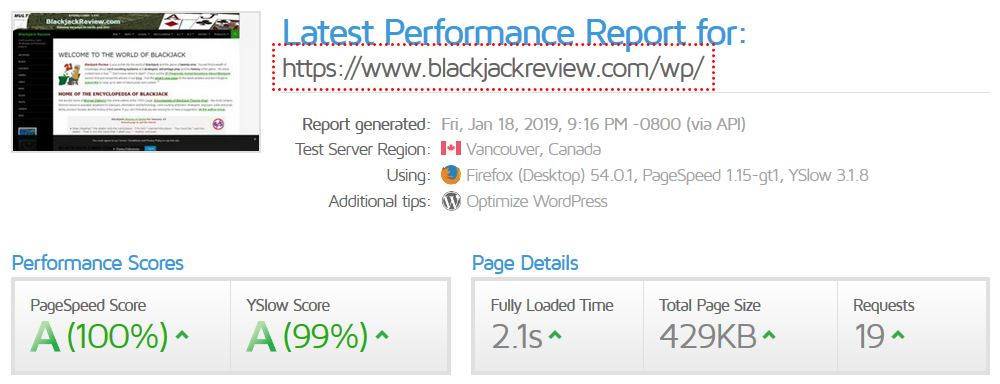 Blackjack Review Network Web Site Performance
